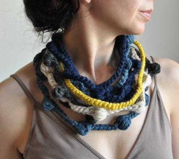Wearable Fiber Art Fiber Jewelry Freeform Crochet Necklace Neckwear Neckpiece multistrand in navy denim charcoal citron - We Can Get Wild