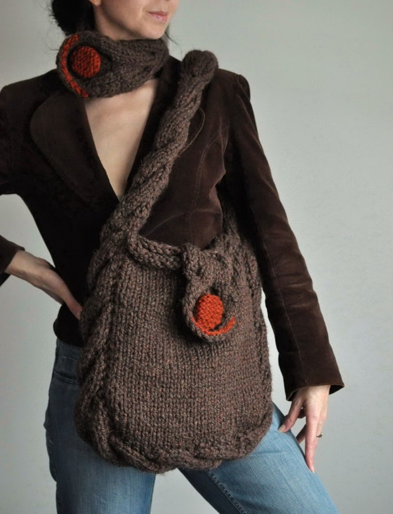 Hand knit cable shoulder bag messenger tote crossbody school bag with contrasting button - Soul of a Vagabond in brown or CHOOSE YOUR COLORS