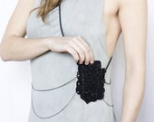 Body harness jewelry - POCKET - Black lace and gunmetal chain