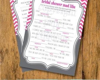 INSTANT UPLOAD Bridal Shower Game Mad Libs -Gray and Hot Pink Wedding Shower Game,Bridal Shower Game,Bride Game,Bride Mad Libs, Bride Shower
