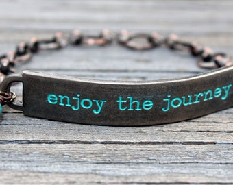 Enjoy the journey, Jewelry with meaning, travel jewelry, jewelry with quotes, jewelry with words, Inspirational, Quote Bracelet, experience