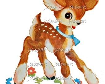 Vintage Digital Download Deer Kawaii Brown Vintage Image Collage Large JPG and PNG
