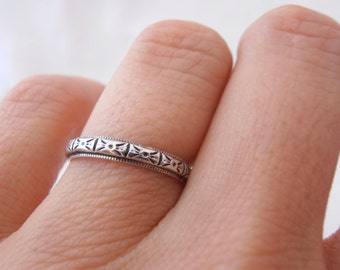 """Geometric Engraved """"Zelda"""" Wedding Band by Chasing Jewelry Made to Order"""