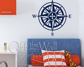 Compass Rose Nautical wall decal, ship decor, sailing, cottage