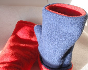 Reversible Royal Blue to Orange unisex  Fleece Fingerless Gloves