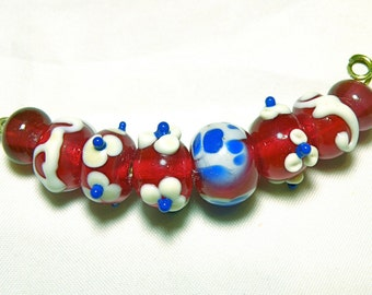 30% OFF SALE -- DESTASH -- Eight (8) Rondelle Lampwork Beads  -- Deep Cherry Red, Cobalt Blue, and Ivory