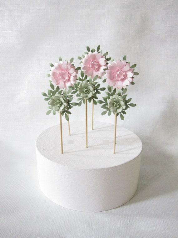 Etsy Cake Decor : Items similar to Wedding Cake Paper Flower Decorations on Etsy