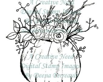 INSTANT DOWNLOAD Digital Stamp Image AUTUMN Floral Arrangement