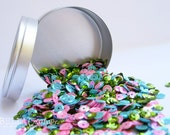 Loose Mixed Sequins in a fun tin - Spring Fling.  Aqua, Pink and Lime Green Sequins