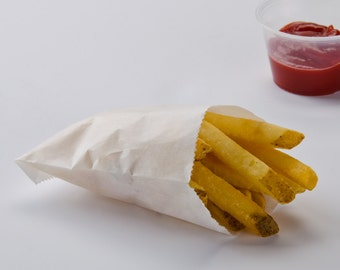White French Fry Bags - Small White Paper Bags - Candy Buffet Bags