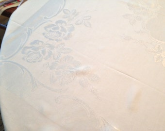 Lovely Mid Century White Linen Tone on Tone Tablecloth//  Fab Holiday Dining// Christmas Decor