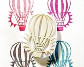 hot air balloon hand carved rubber stamp. classic vehicle stamp. explore the world. diy birthday wedding scrapbooking. gift wrapping