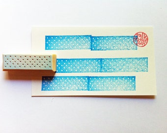washi tape stamp. hand carved rubber stamp. polka dot masking tape stamp. gift wrapping. mail art. scrapbooking. holiday crafts.