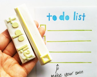 to do list stamps. planner hand carved rubber stamps. to do list, check box with line. office stationery. card making. set of 2