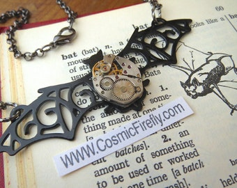 Steampunk Necklace Gothic Victorian Bat Necklace Watch Movement Steampunk Halloween Necklace Gothic Jewelry Costume Jewelry Handcrafted New