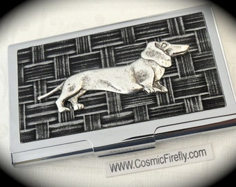Silver Dachshund Dog Business Card Case Silver Card Case Steampunk Card Case Silver Dog Card Holder Doxie Gifts For Wiener Dog Lovers