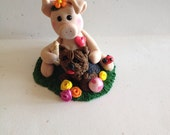 Pig with Yorkie dog - Polymer Clay dog - Handmade Dog - Polymer Clay Pig - Yorkshire Terrior Dog - Dog Sculpture - Pig Figurine - Dog Gift