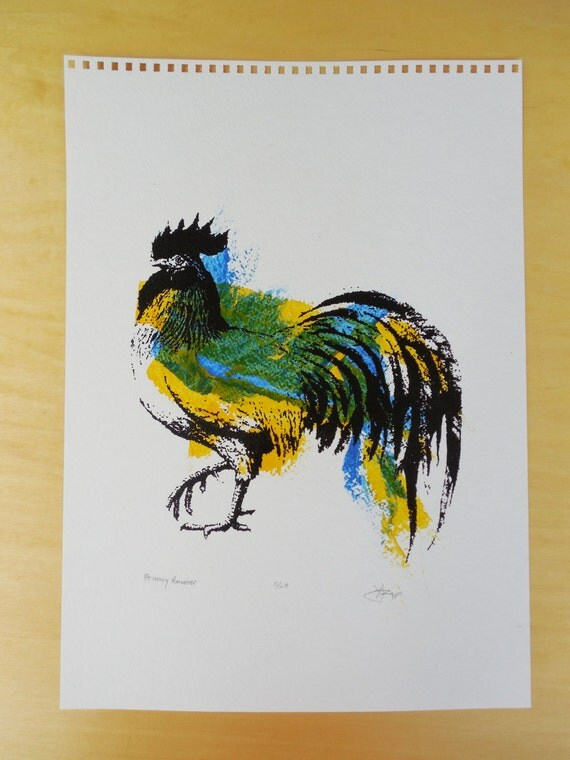 Chicken / Rooster Print - Primary Rooster - Silkscreen Print