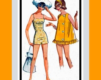 Vintage 1962- POOLSIDE SWEETIE-One Piece Pin-Up Style Bathing Suit -Sewing Pattern -Darling Matching Cover-Up- Uncut -Size 14 -Rare