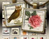 EPHEMERA MIX - Digital Collage Sheet 1x1 inch Printable Images for glass and resin pendants magnets scrapbook vintage paper