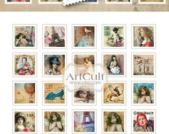 1x1 inch size images FUNKY STAMPS Digital Collage Sheet Printable images for glass tile pendants magnets scrapbooking paper goods ArtCult
