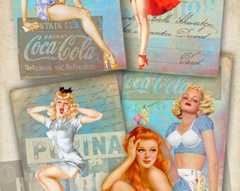Printable download VINTAGE GLAMOR GIRLS Digital Collage Sheet Gift tags Jewelry Holders griting cards vintage Scrapbooking Paper Art Cult