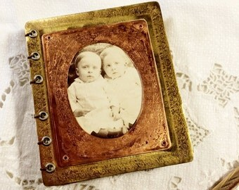 Mini Journal Etched Brass Antique Twin Babies Picture
