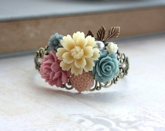 Ivory, Blue Pink Flowers Bouquet, Brass Leaf Filigree Collage Cuff Bracelet. Bridesmaids Gift, Wedding Bracelet. Nature. Vintage Inspired.