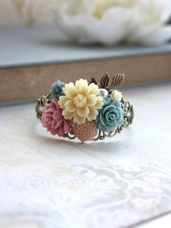 Ivory, Blue Pink Flowers Bouquet, Brass Leaf Filigree Collage Cuff Bracelet. Bridesmaids Gift, Wedding Bracelet. Nature. Vintage Inspired.