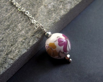 Sterling Silver Flower Necklace - Flower Bead Necklace -   Hand Painted Flower Necklace - Bohemian Necklace - Modern Flower Necklace