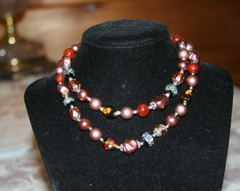 Fifties Brown Beaded Necklace