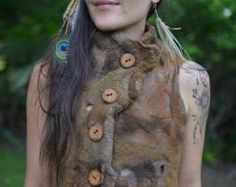 SALE was 169 USD - Felt Melted Woodland Pixie Forest Nymph High Collar Vest Top OOAK