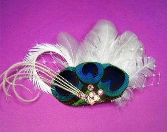 Bridal hair piece white feather birdcage netting wedding headpiece maid of honor white bridal hair clip flower girl hair accessories