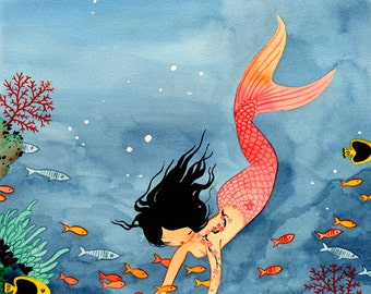 11x17 Mermaid - Fine Art color archival print - Bright Watercolor Painting