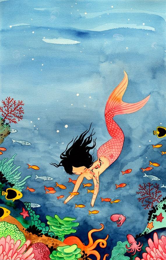 Items similar to 11x17 Mermaid - Fine Art color archival ...