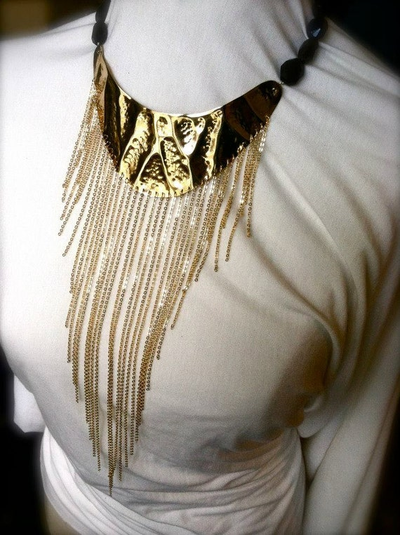 Fierce fringe statement collar necklace with faceted moss stone necklace