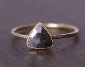 ON SALE RESERVED Triangle Pyrite Gold Ring