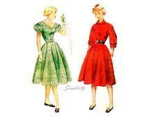 1950s Rockabilly Dress Pattern Simplicity 3711, Drop Shoulder, Full Skirt, Bust 28 Uncut FF, 50s Vintage Sewing Patterns