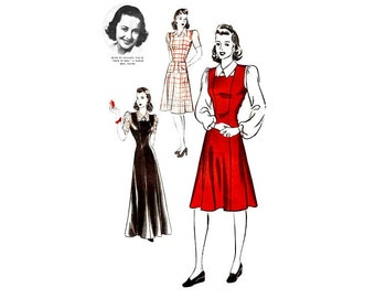 1940s Hollywood Pattern 551, Olivia de Havilland, Womens Jumper Dress & Blouse, Day or Evening, Rare 40s Vintage Sewing Patterns