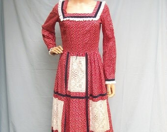 70s Cotton Calico Maxi Dress size Small to Medium Patchwork Lace Velvet Toni Todd