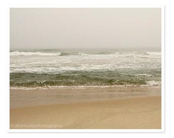 Ocean Photography, Nantucket Beach Photograph, Landscape Summer Art, Blue Peach Gray Fog, Soft Pretty Pastel, Moody Fine Art Photography