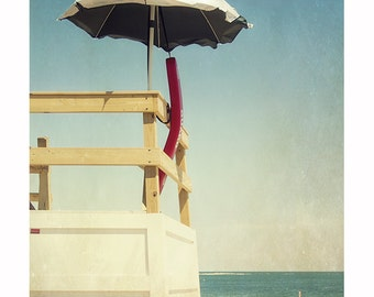 Beach Umbrella Photography, Lifeguard Stand, Seaside Photograph, Coastal Decor, Summertime, Retro Nostalgic Photo, Martha's Vineyard Art