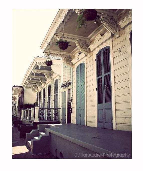 New Orleans Architecture Photography, Blue Doors Photograph, fine art print, French Quarter steps, blue cream neutral decor, Mardi Gras Art
