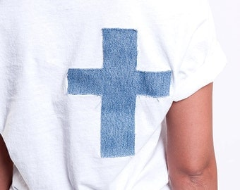 White V Neck Tee CROSS Denim Patch – 100% Cotton
