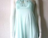 Butterfly Slip Dress in Mint Green - Saramae Vintage Full Slip - Size Medium - Large