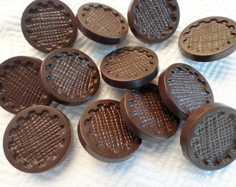 12 Chocolate Vintage Buttons - Brown Mid Century 3/4 inch 19mm for Sewing Knitting Jewelry Beads