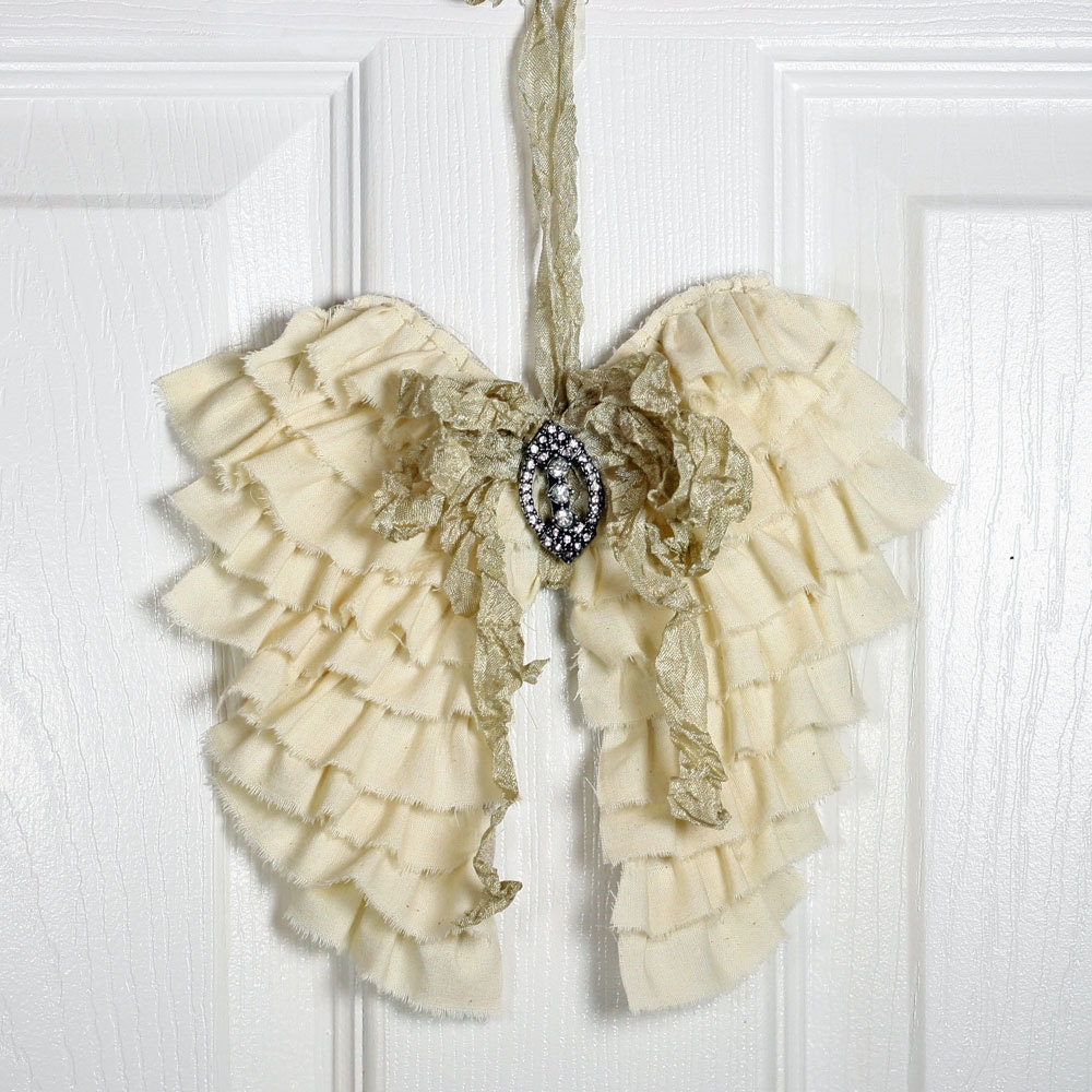 Decorative Wall Hanging Angel Wings : Shabby angel wings wall decor ruffled cottage chic