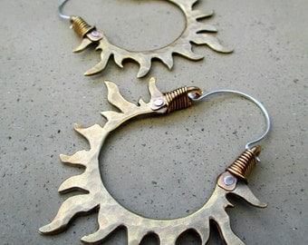 Solar Passion Hoop Earrings, Golden, Sun, Flames, Handmade, Mixed Metal, Gypsy, Fire Dancer, Belly Dancer