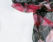 Hand painted scarf- A Shy Magnolia. Black pink scarf, Silk chiffon scarf, Magnolias scarf, Lightweight scarves Summer fashion Handmade scarf
