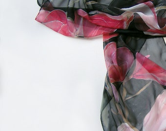 Black silk scarf hand painted. Silk chiffon scarf with pink magnolias/ Lightweight scarves/ Summer fashion scarf/ Handmade scarf